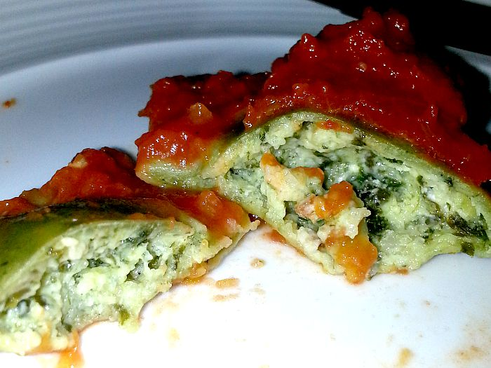 Pegi Waffles Spinach Ravioli Cross Section