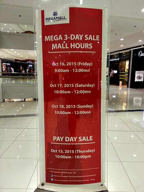 SM 3 Day Sale Oct 15 to 18 Megamall Hours