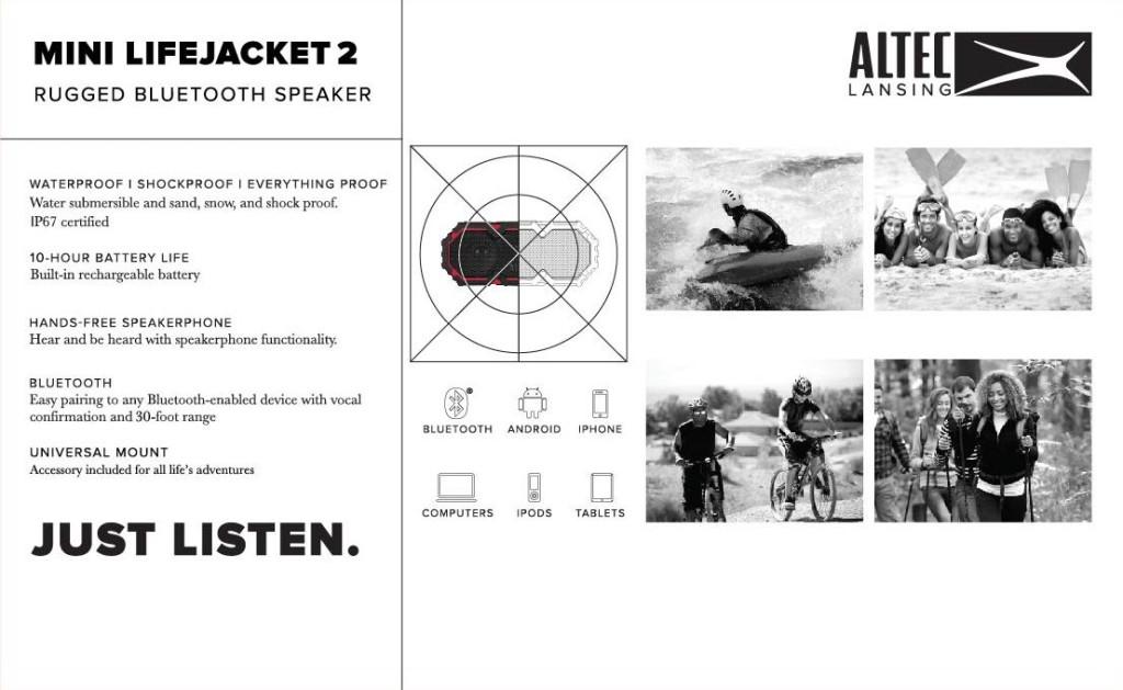 Altec Lansing Bluetooth Speaker Launch Mini Life Jacket Specs
