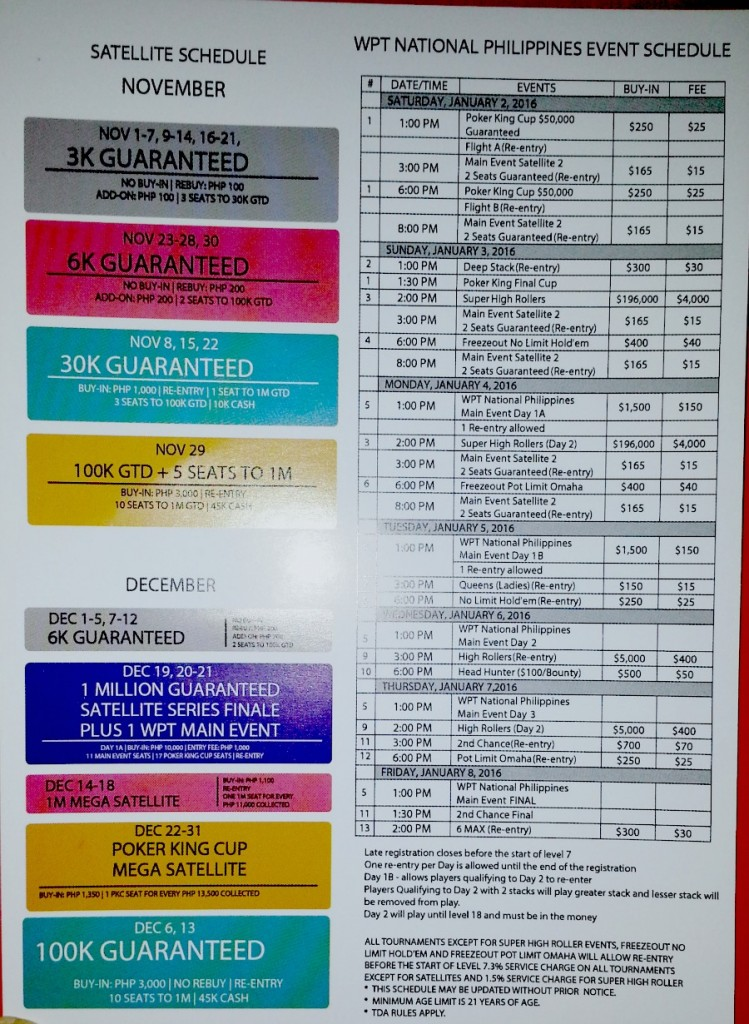 World Poker Tour National Philippines Event Schedule Solaire Poker King Club Pokercast