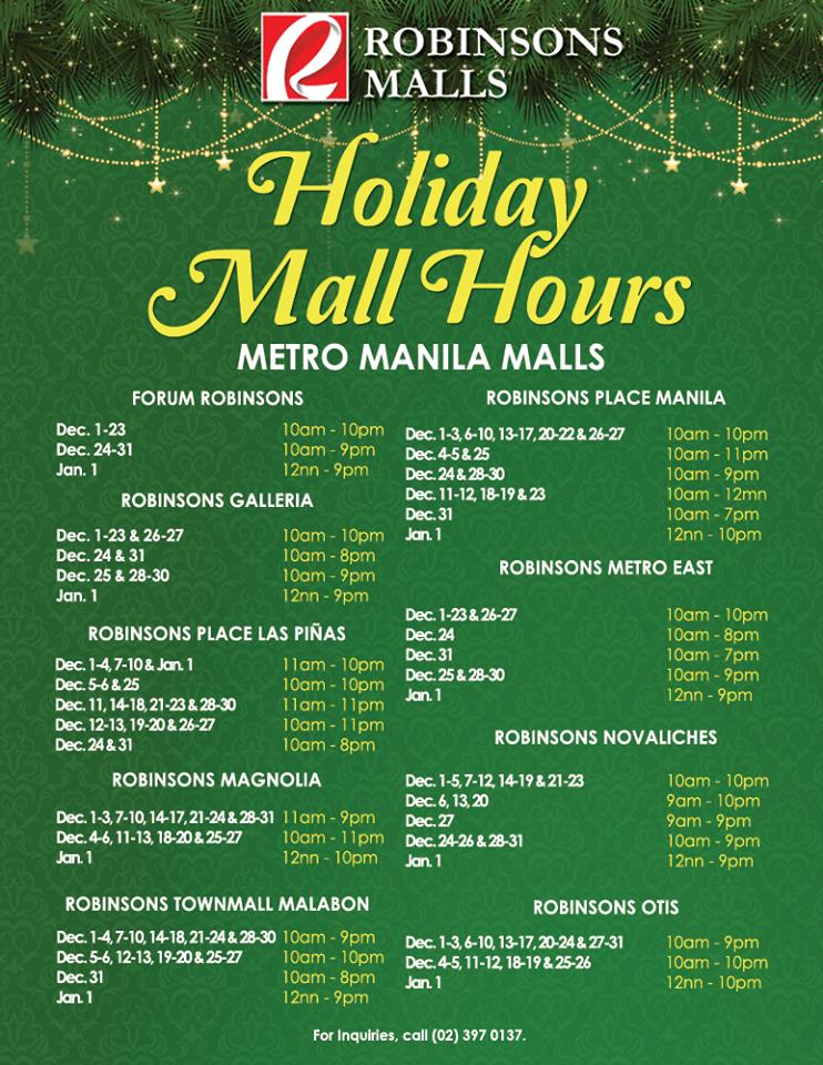 Robinsons Malls Metro Manila Mall Hours 2015