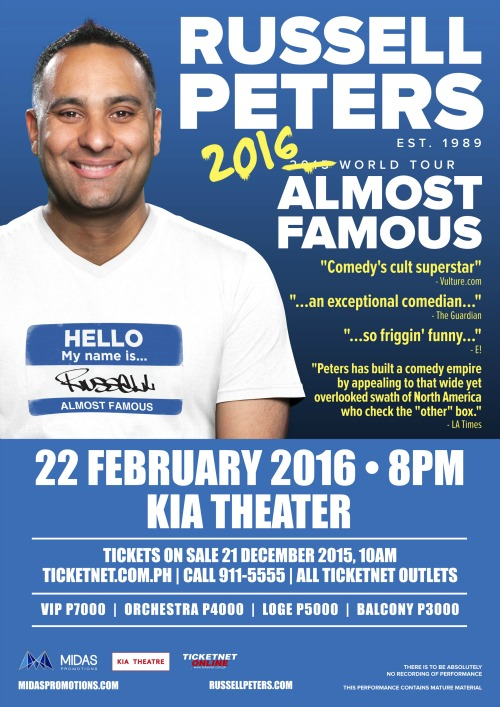 Russell Peters Poster MNL Dec 19