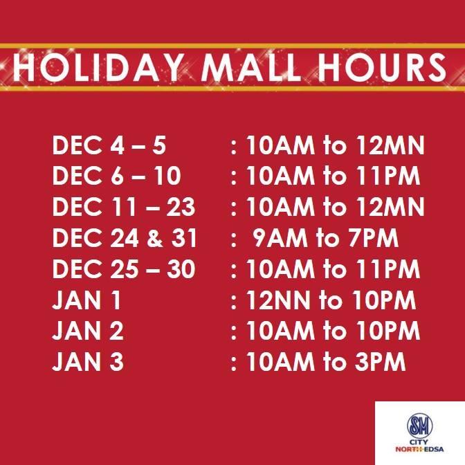 SM North Edsa Mall Hours 2015