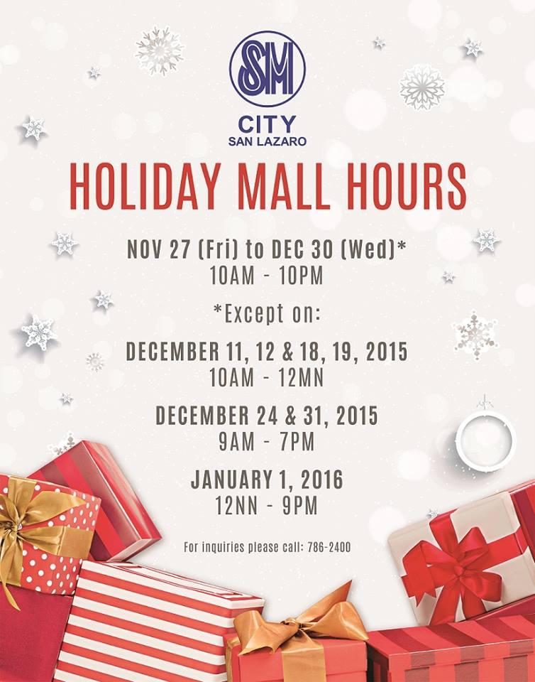 SM San Lazaro Mall Hours 2015