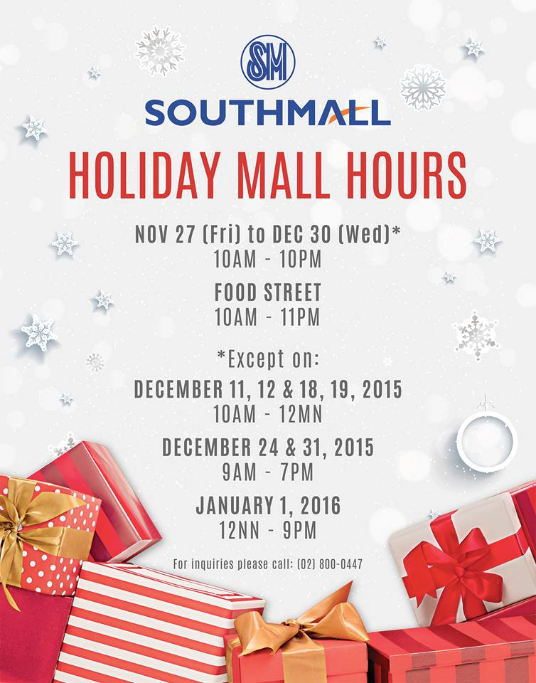 SM Southmall Mall Hours 2015