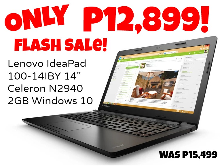 Lenovo IdeaPad 100-14IBY Flash Sale Correct