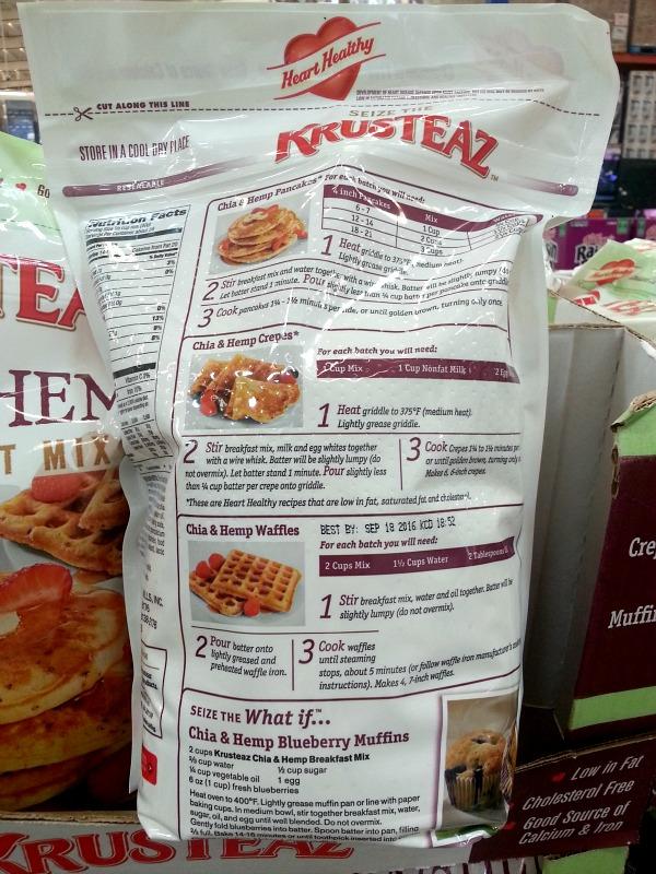 SnR January 2016 Krusteaz Chia Hemp Breakfast Mix Back Info Recipes