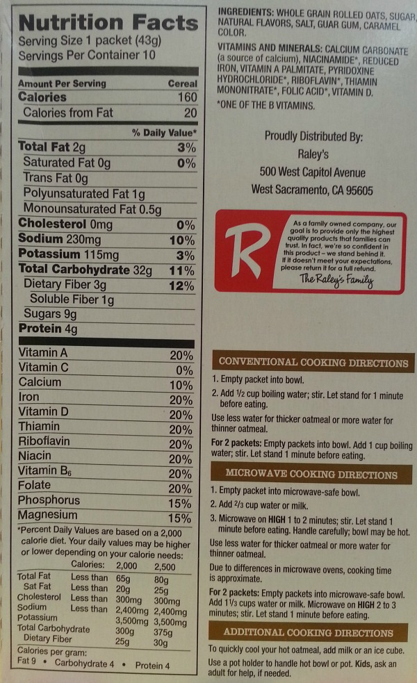 SnR January 2016 Raleys Maple Brown Sugar Oatmeal Back Directions Nutritional Ingredients