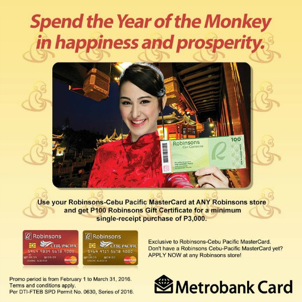 Metrobank Card Robinsons P100 GC for Every P3000