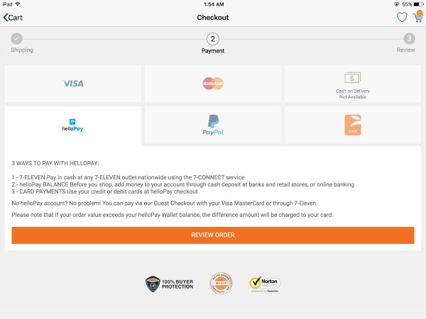 Lazada App Choosing Hello Pay