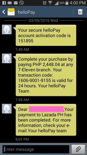 Lazada Hello Pay Text Messages