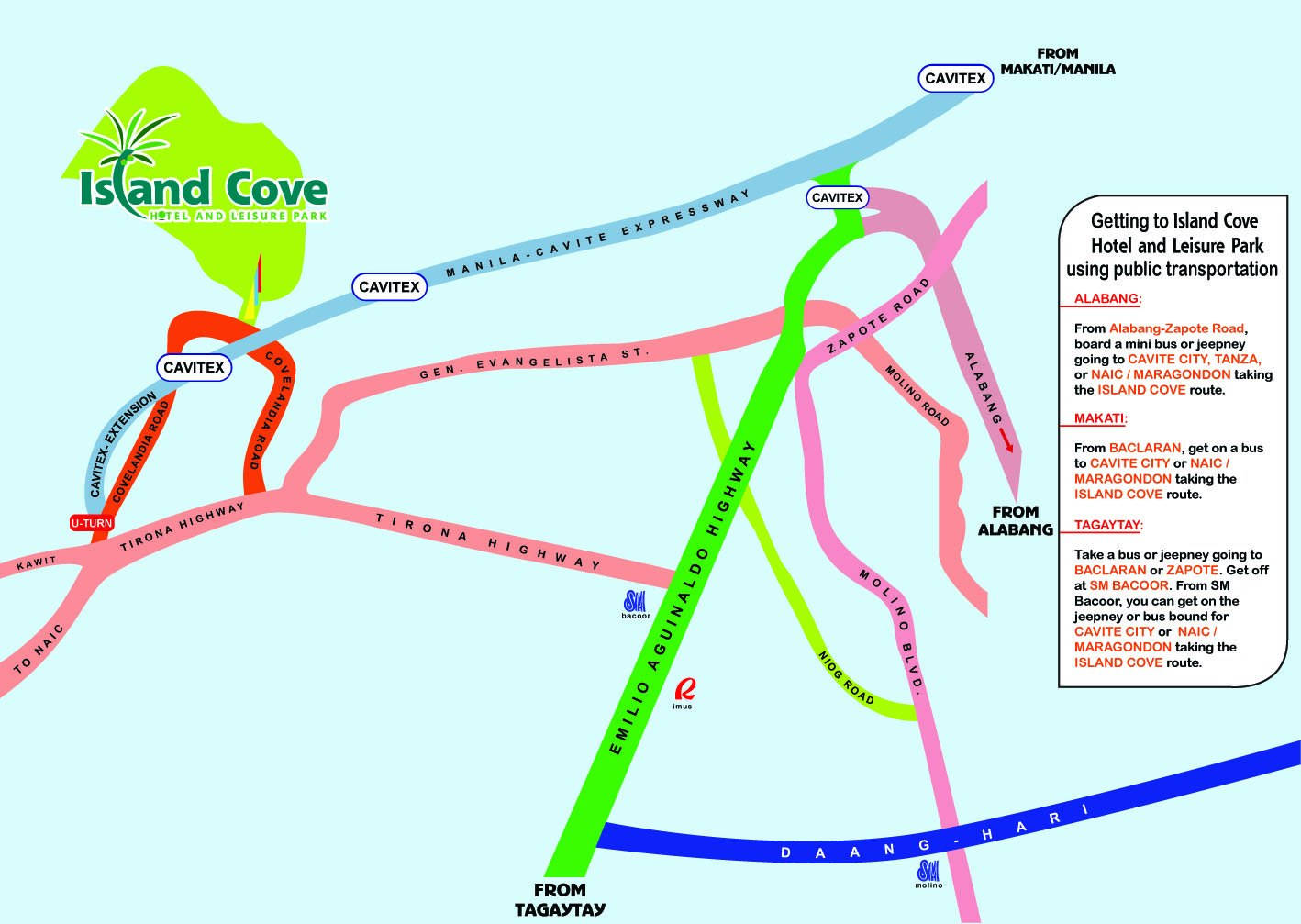 Map to Island Cove from different points