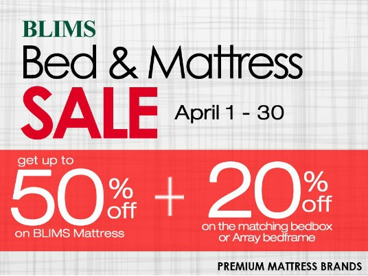 BLIMS Bed & Mattress Sale! From April 1-30, 2016