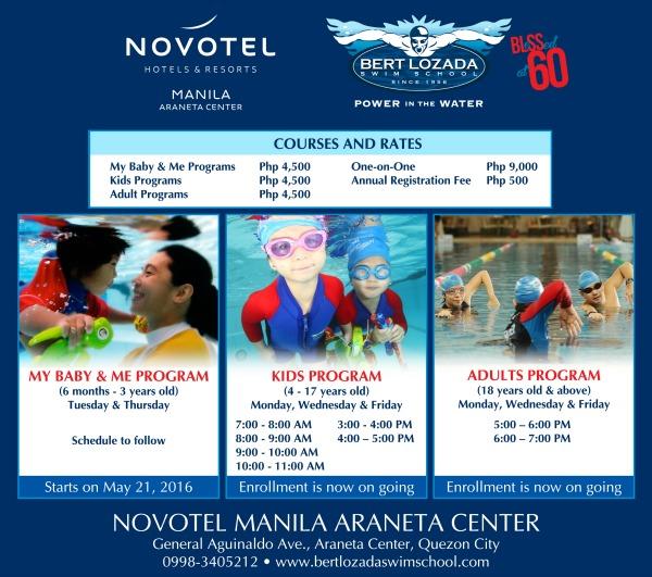 Get 15 off novotel manila restos with your swim lessons karen mnl for Ymca manila swimming pool rates