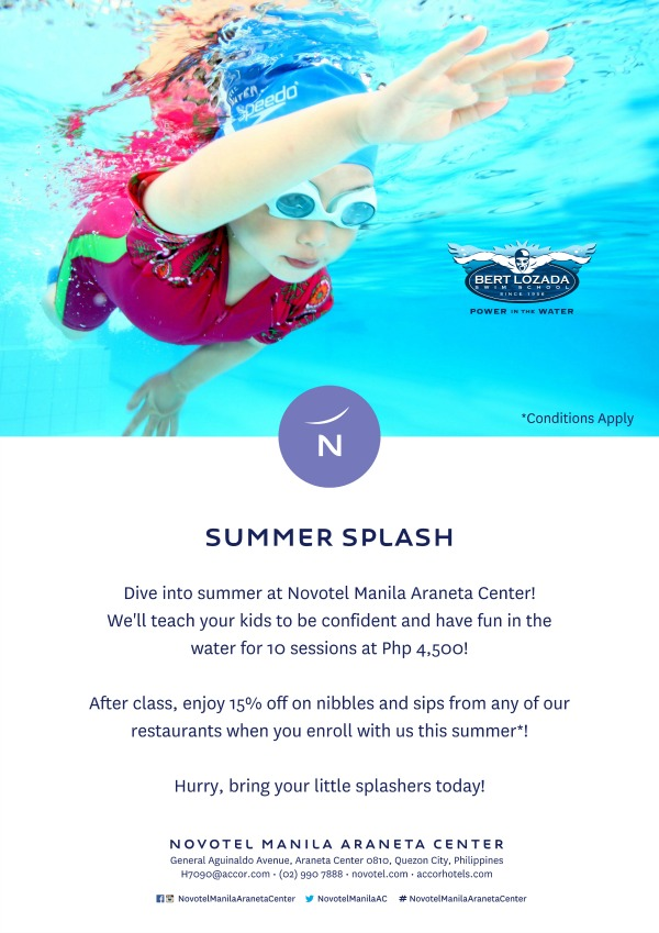 Novotel Bert Lozada Swim School Discount Flyer