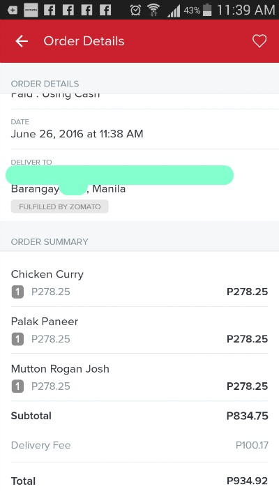 Zomato Online Delivery Order Details with Delivery Fee