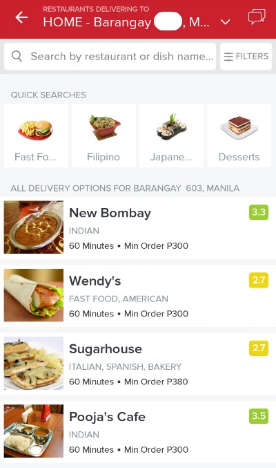 Zomato Online Delivery Ordering List of Restaurants