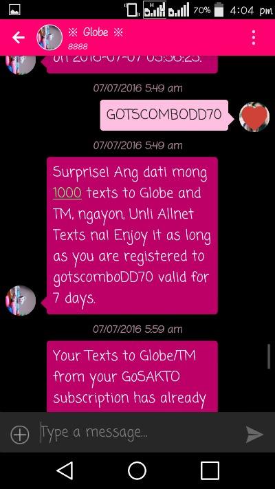 Globe Gotscombodd70 All Net Texts