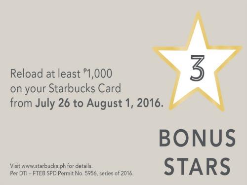 Starbucks Card: Get 3 Bonus Stars on P1,000 Reload