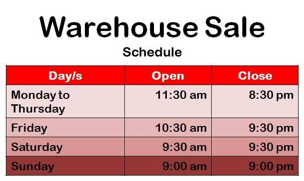 Halo Warehouse Sale Sept 8 2016 Schedule
