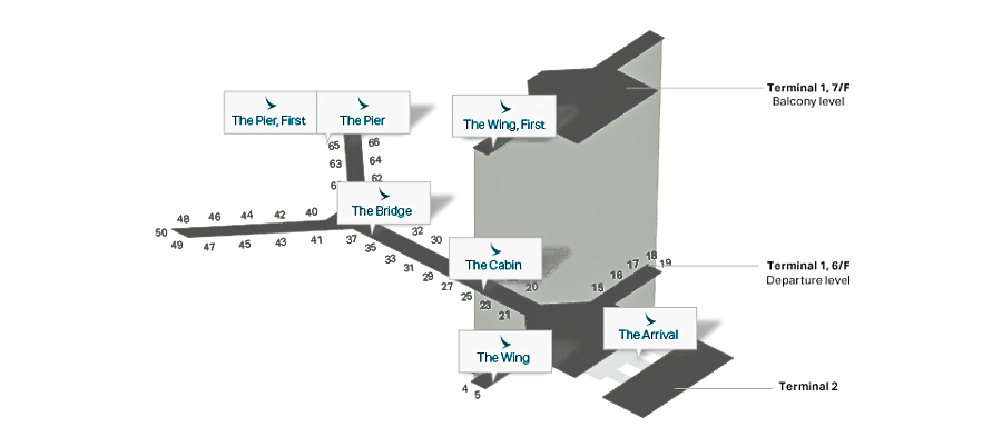Cathay HKIA Lounges Map