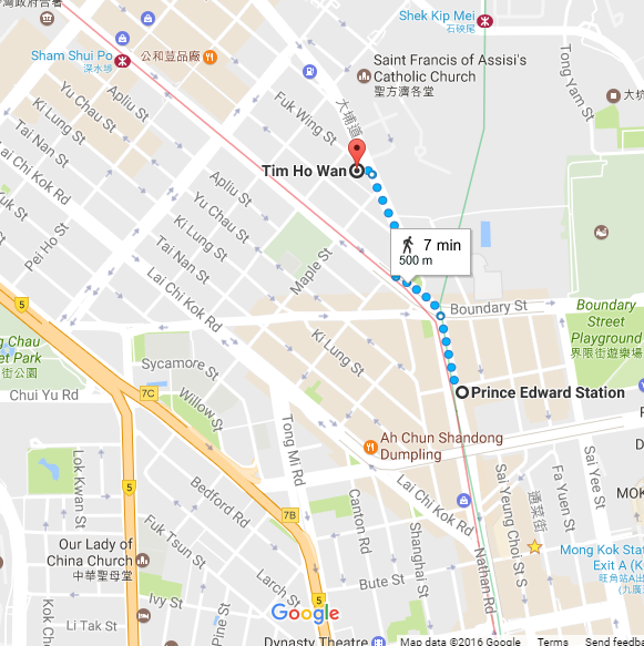 Google Maps Directions to Tim Ho Wan Sham Shui Po