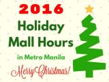 Holiday / Christmas Mall Hours 2016