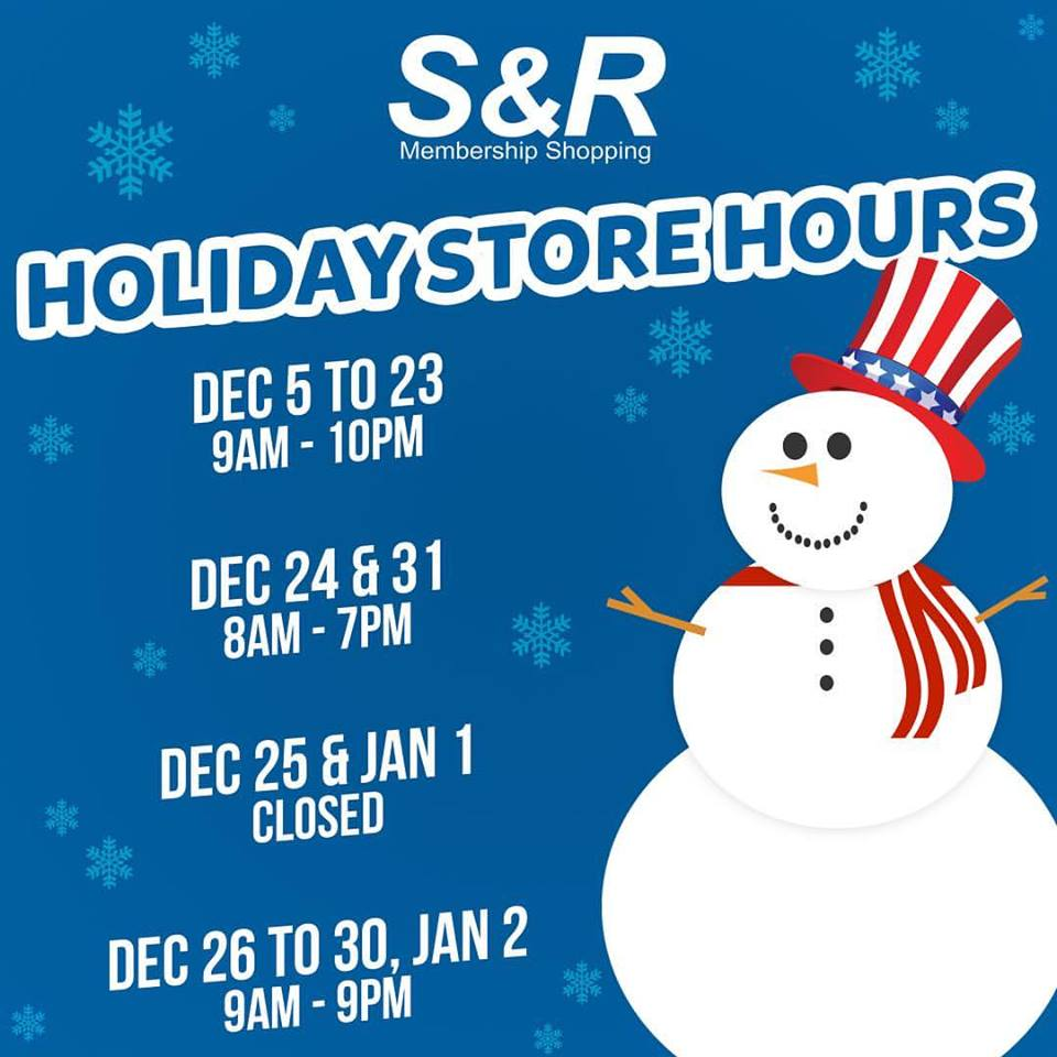 SnR Holiday Store Hours 2016