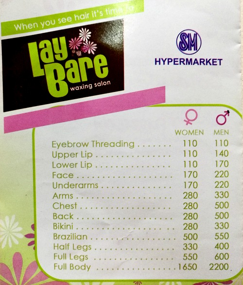Lay Bare Price List