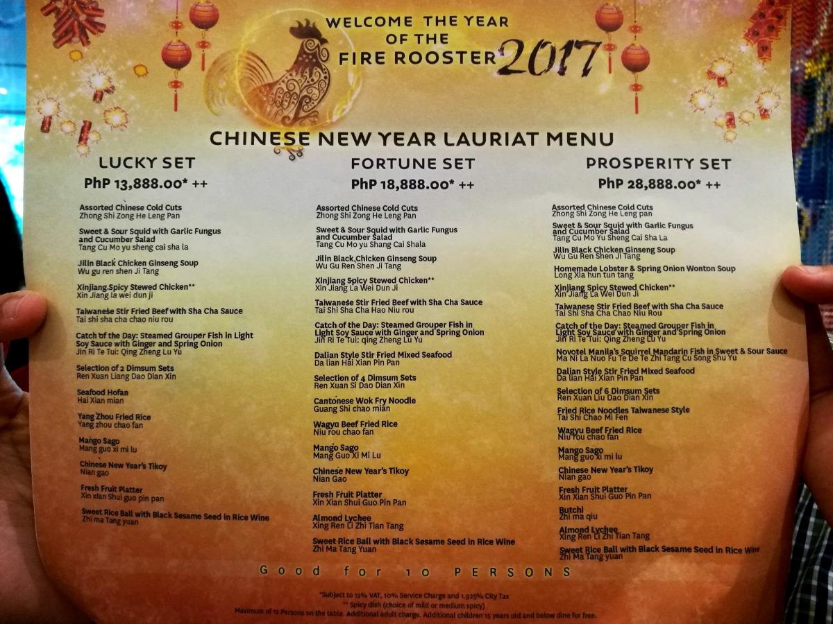 Novotel Chinese New Year 2017 Menu