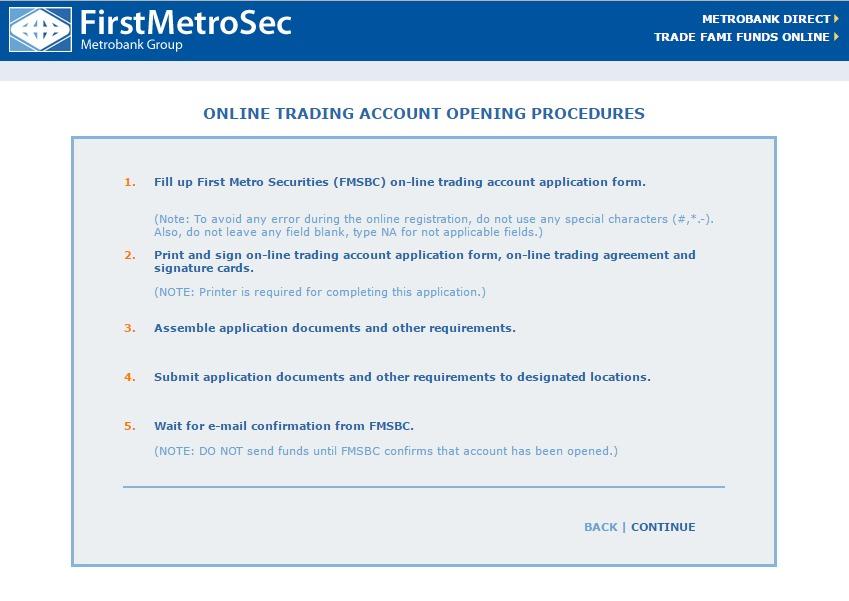 First Metro Sec Open Acct Procedures