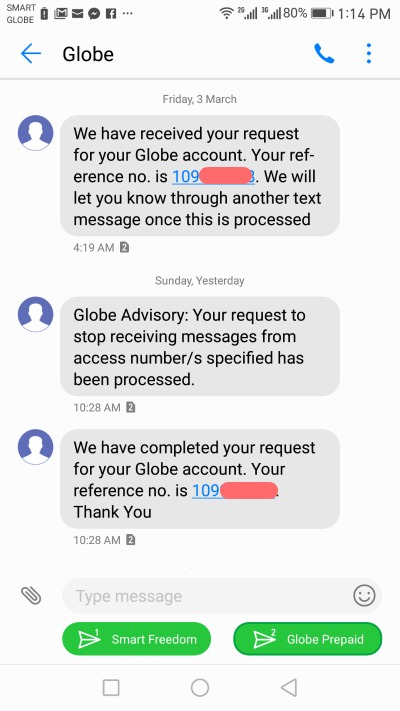 Globe Access Number Stop Access Message