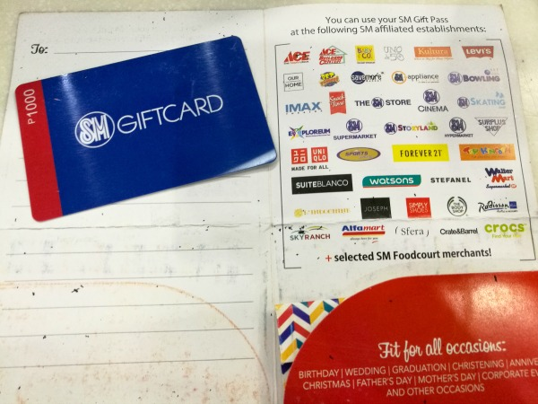 SM Gift Card List of Establishments