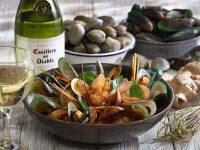 Casillero del Diablo Chardonnay with Clams Mussels Binakol