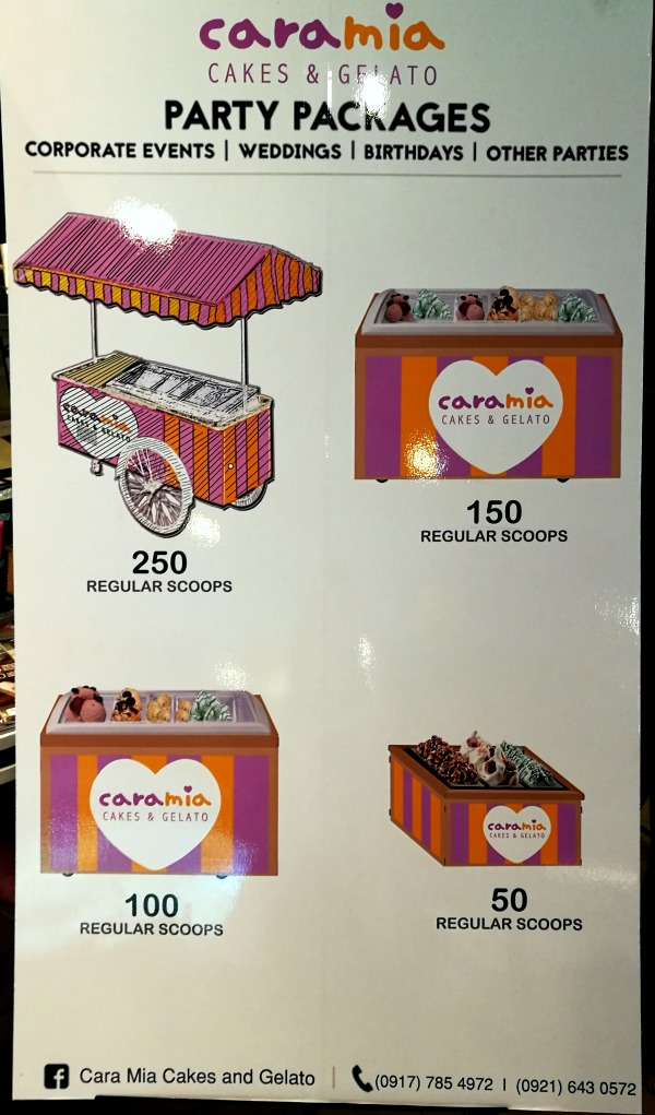 Cara Mia Gelato Party Packages