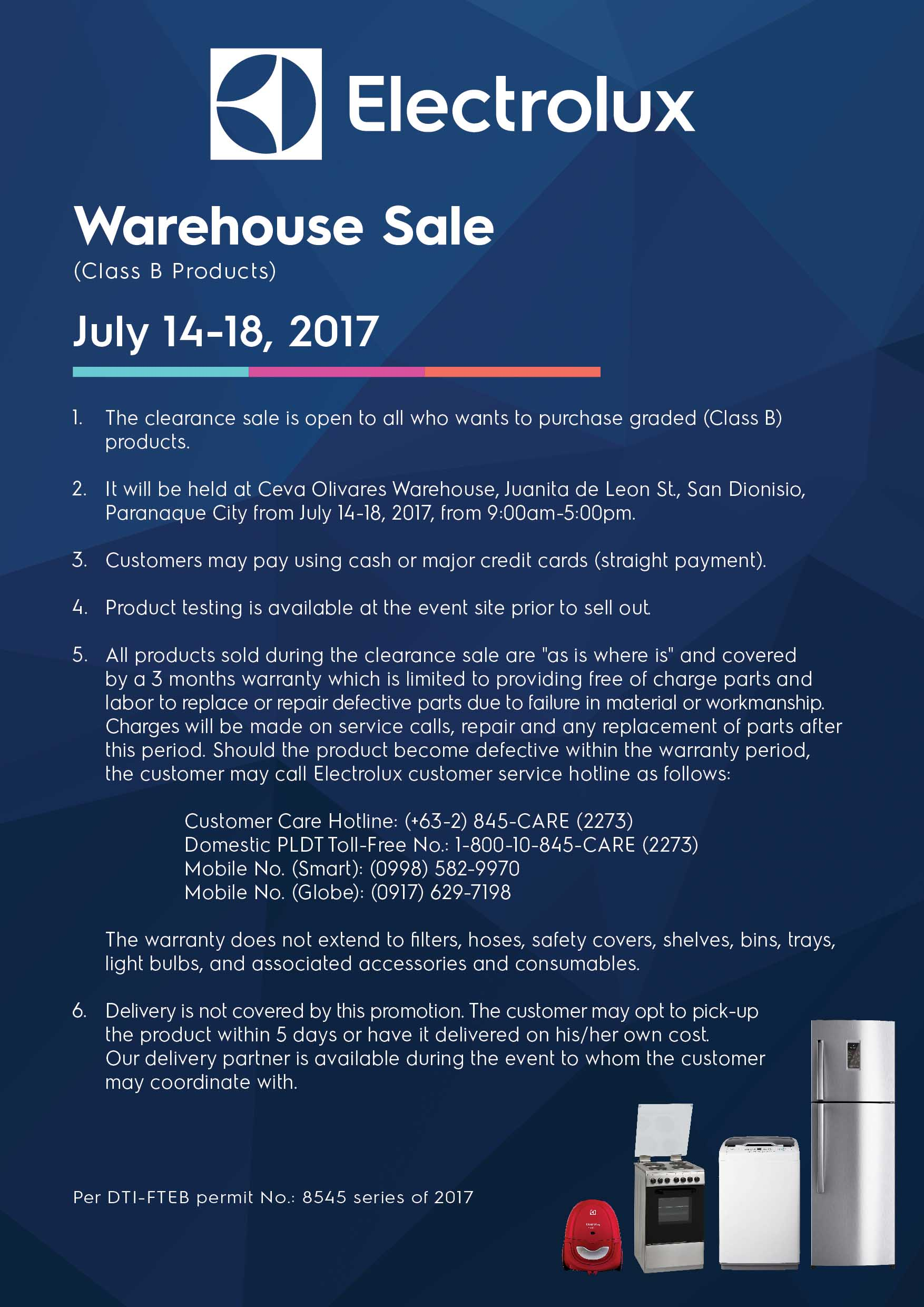 Electrolux Warehouse Sale Terms Conditions