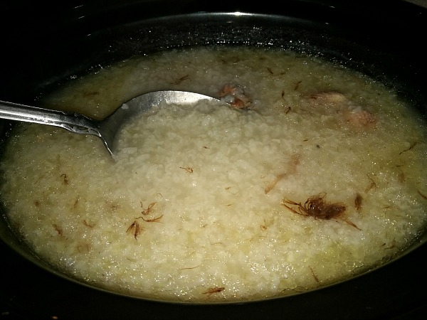 Lazy Arroz Caldo Before After 8 Hours Slow Cooking