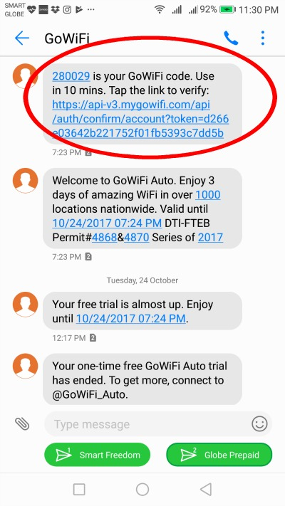 GoWifi Auto Free Trial Verification Code Text