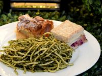 Heritage Launch Herb Pistachio Pesto Pasta Turkey Cranberry Slaw Bread Pudding