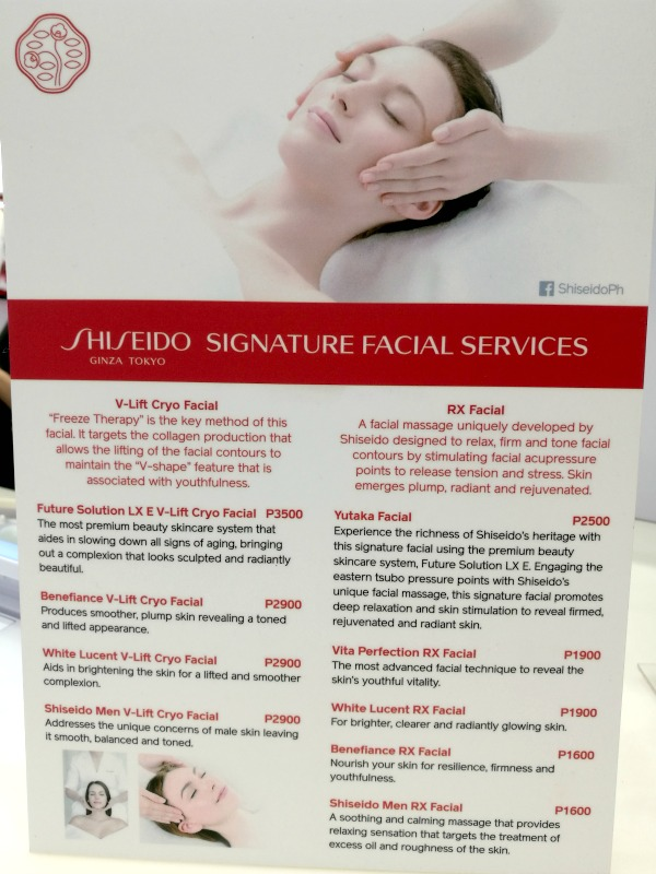 Shiseido-Signature-Facial-Services-Price-List