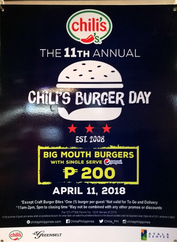 Chili's Burger Day 2018