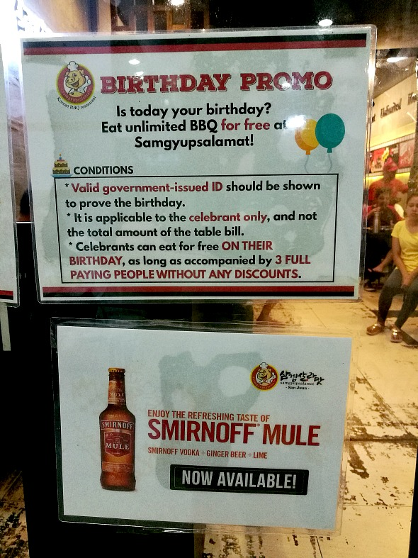 Samgyupsalamat Birthday Promo