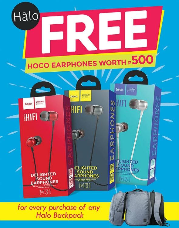 Halo Backpack Promo Free Hoco Earphones