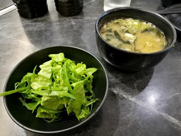 Mitasu Yakiniku Scallion Salad Miso Soup