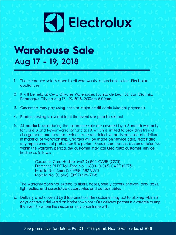 Electrolux Warehouse Sale Aug 17 - 19 2018
