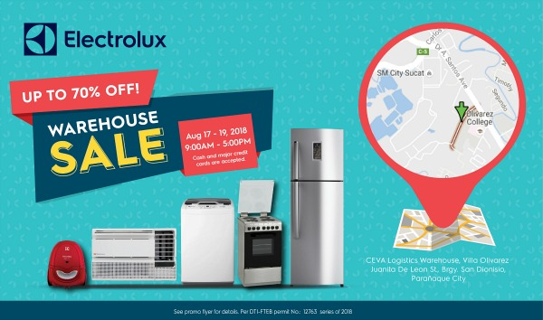 Electrolux Warehouse Sale Aug. 17 - 19, 2018