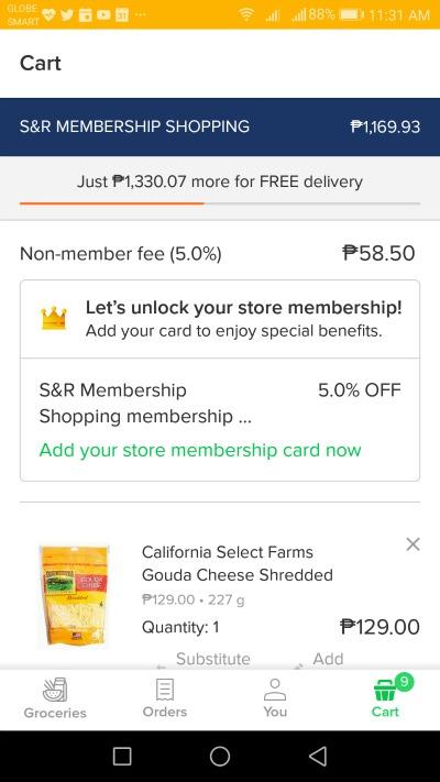 Honestbee S&R non member fee