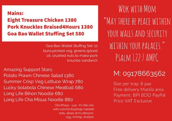 Wok with Mom Menu Price List