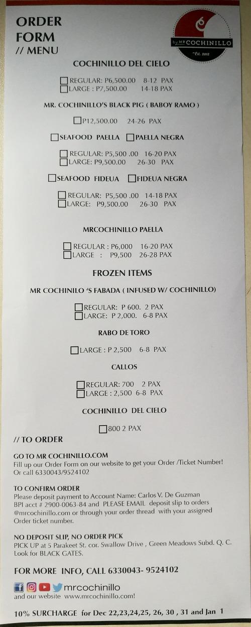 Mr Cochinillo Menu Order Form