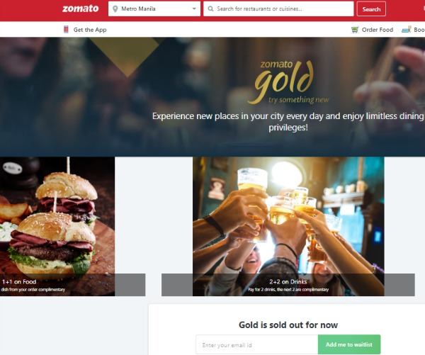 Zomato Gold Sign Up